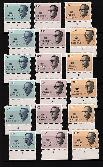 Belgium 1981 - All (large format) editions in 6 plate numbers of King Baudouin with glasses - OBP 2022/24