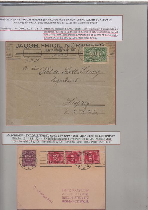 Empire allemand 1923/1945 - Special collection of airmail advertising cancellation in two volumes