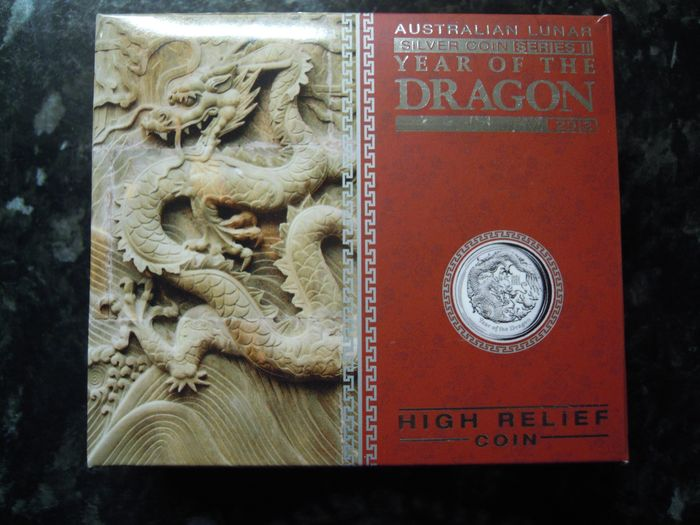 """Australia. 1 Dollar 2012 Proof """"The Year Of The Dragon"""" - high relief - 1 Oz"""