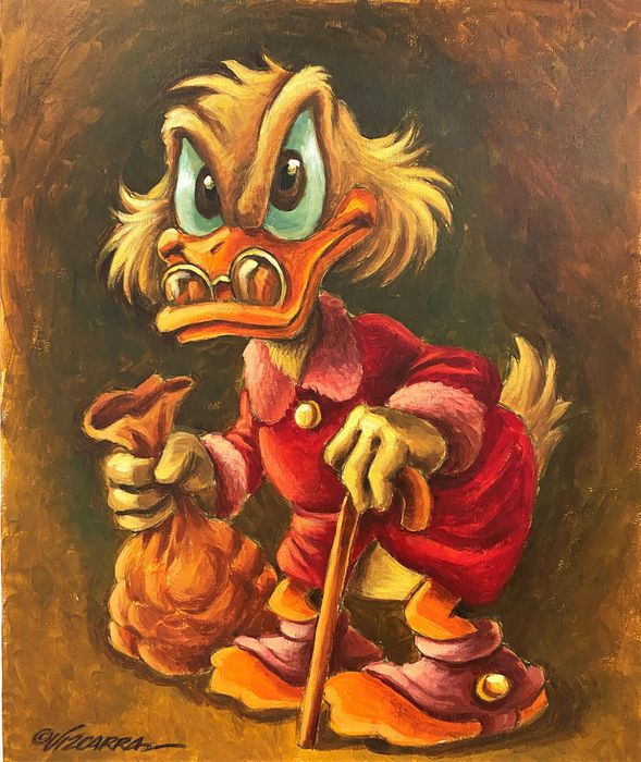 Scrooge McDuck - Acrylic Painting - Joan Vizcarra - Original Art - Stretched Canvas - 55 x 46 cm