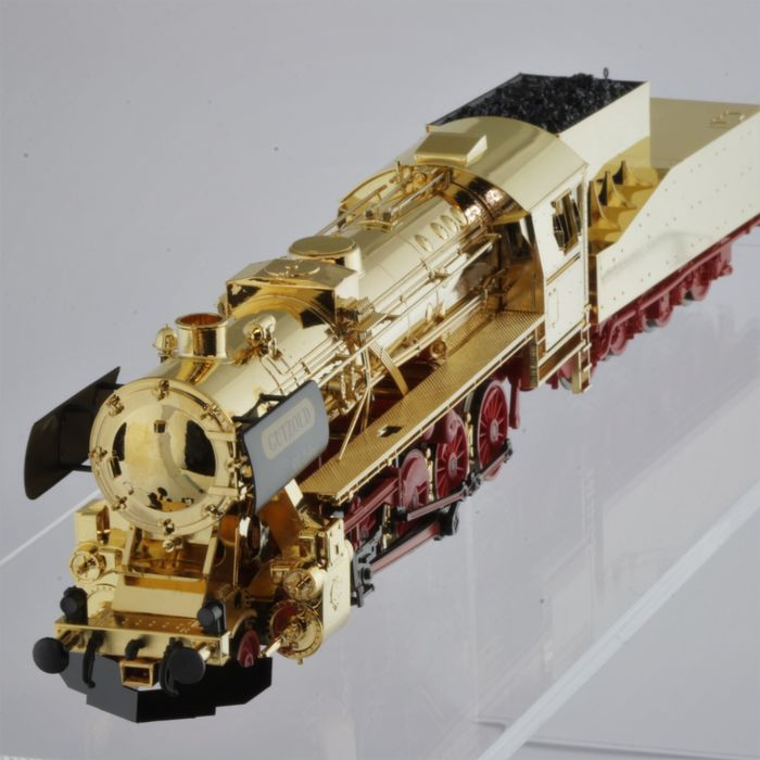 Gützold H0 - 32100 - Steam locomotive with tender - BR 52 Goldplated 50 years version from 1997 - Limited to 150 pieces