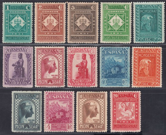 Spain 1931 - Centennial of the Foundation of the Monastery of Montserrat - Edifil, 636 / 649