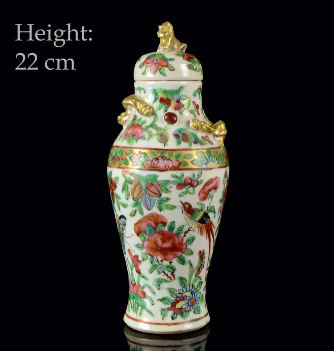 A Chinese vase and cover - Canton, Famille rose, Rose Canton - Porcelain - Birds, butterflies, fruits and flowers - NO RESERVE PRICE - China - 19th century