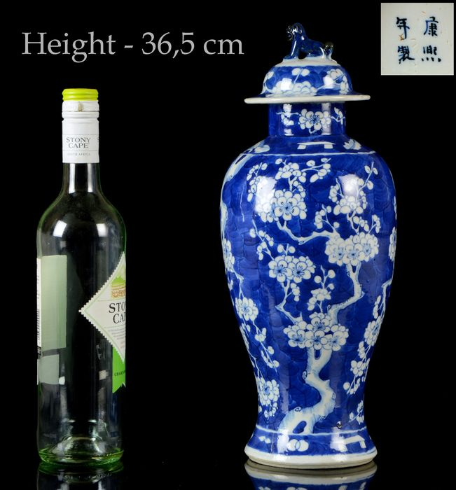 A large Chinese vase and cover - Blue and white - Porcelain - Prunus on cracked ice - China - Guangxu (1875-1908)