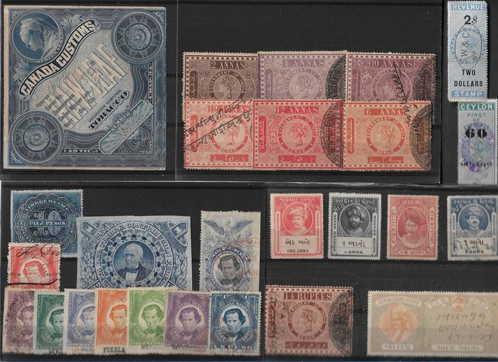 Monde - Important lot de timbres fiscaux o.a Canada Tobacco and India and States