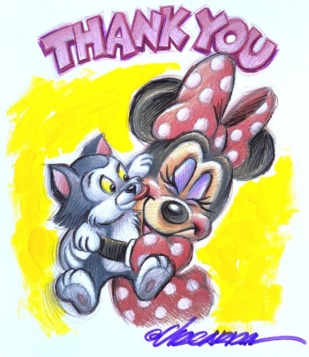 """Minnie & Figaro """"THANK YOU"""" - Giclée Hand Embellished & Signed By Joan Vizcarra - Canvas"""