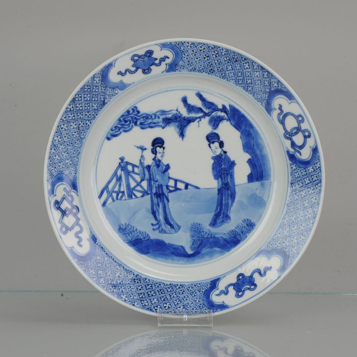 Plate - Porcelain - Perfect Antique Kangxi Chinese Porcelain Long Liza Blue and White Figural Plate Marked Base - China - 18th century