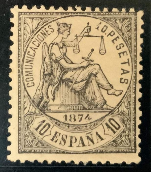Spain 1874 - Allegory of justice 10 pesetas - well centred - Comex cert. - Edifil 152