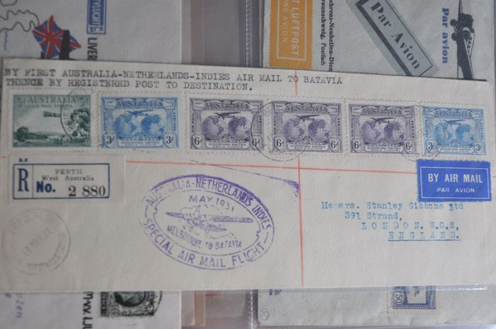 Monde - Collection of classic Airmail postal items including better, amongst others, KLM - Vliegende Hollander 1931