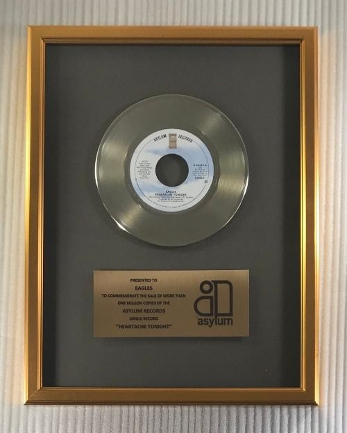 """Eagles - """"Heartache Tonight"""" 45 RPM Gold Record Award Presented To The Eagles - Official In-House award - 1980/1980"""