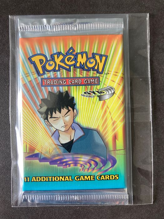 Wizards of The Coast - Pokémon - Booster Pack Pokemon Unweighed Box Fresh Brock's Gym Heroes Tampersealed Booster Pack.
