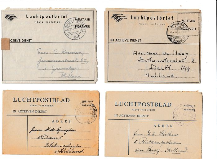 Dutch East Indies - Album with 185 postal order pieces with Military Field post (KNIL)