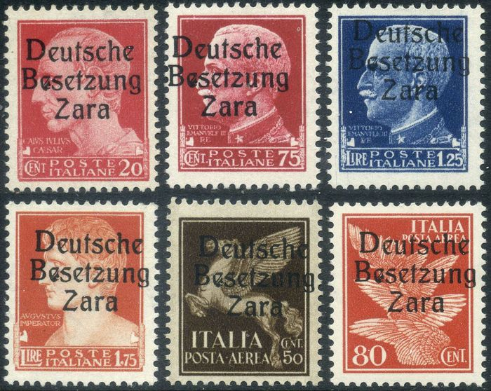 """Zara 1943 - First issue, 6 values with variety """"first E of Besetzung spotted at the bottom"""", position 28"""