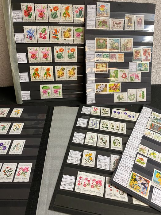 Welt - 20 a4 sheets with Flower sets, blocks and booklets from all over the world