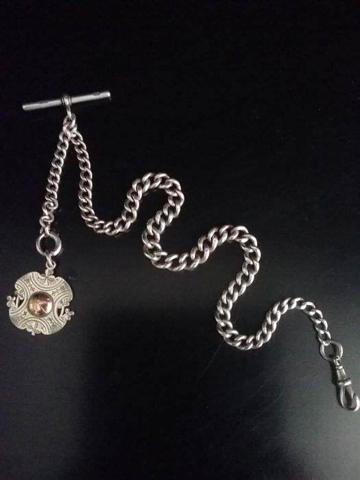 Victorian Hallmarked Silver pocket watch chain with T bar- Sterling Silver & 9ct gold fob - NO RESERVE PRICE - Heren - 1901-1949