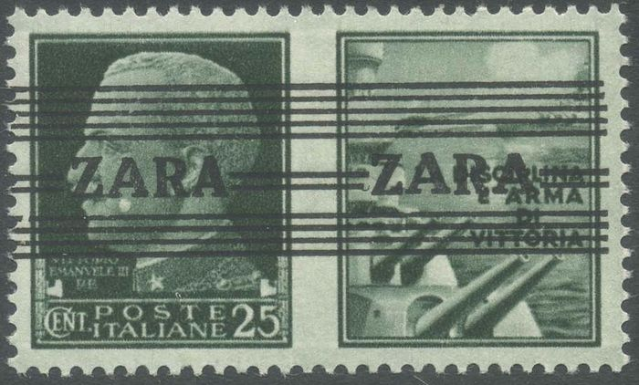 """Zara 1943 - Propaganda c. 25 with variety """"ZARA with the first 'A' large and the second 'A' narrow + both large - Sassone N. 27"""