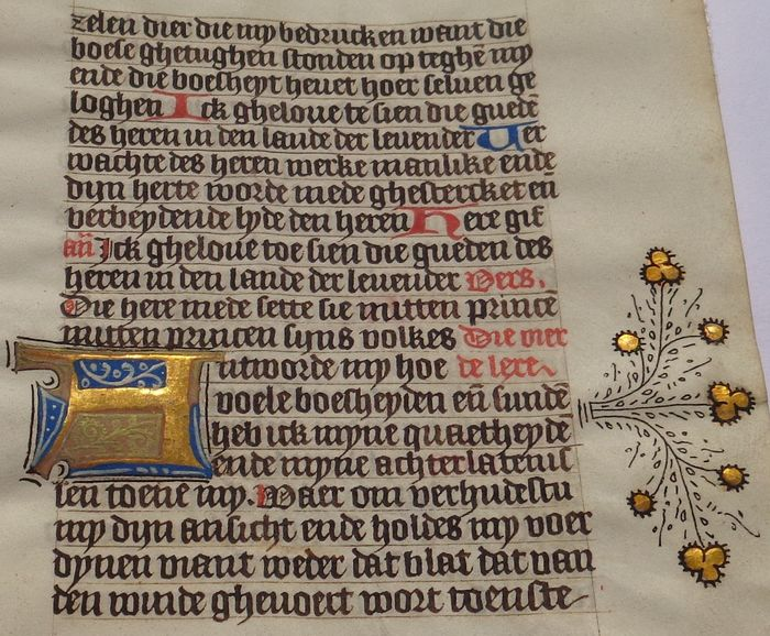 Manuscript - Illuminated leaf from a Medieval Book of Hours from the Netherlands on parchment - 1420