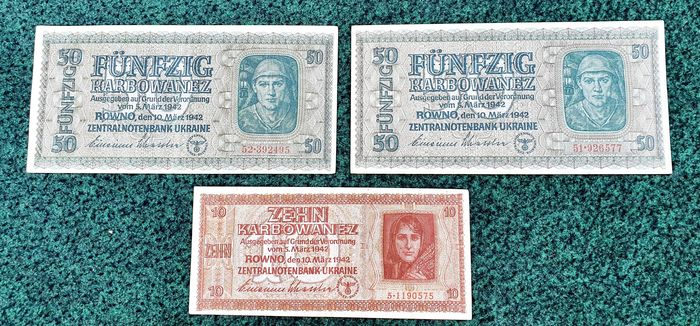 Ucraina - 1 x 10 and 2 x 50 Karbovanets 1942 - Pick 52 (1) and 54 (2)