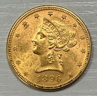 United States. 10 Dollars 1896 Liberty Head (16,72 g d'or .900)