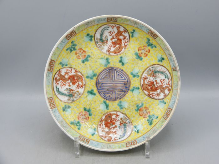 Exceptional plate with dragon and phoenix decoration - Fencai - Porcelain - China - Guangxu (1875-1908)