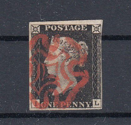 Großbritannien 1840 - Black Penny cancelled with a Red Maltese cross - Michel 1