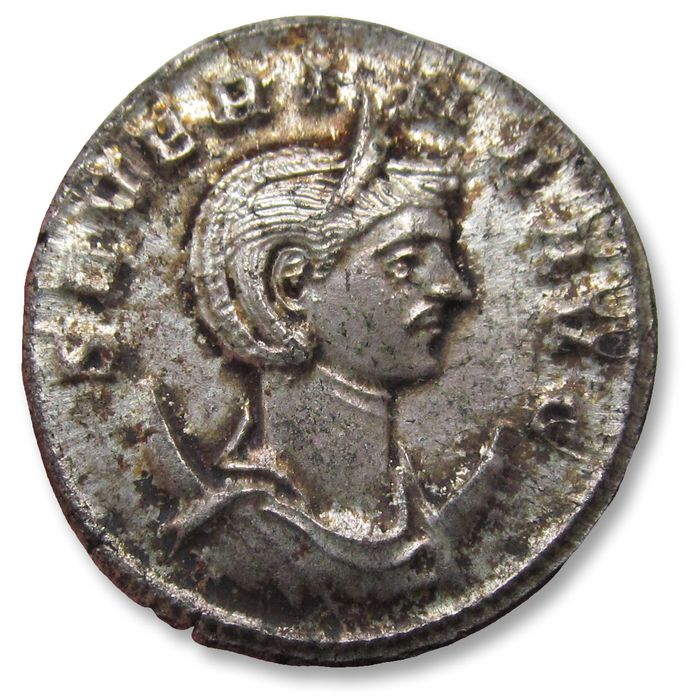 Roman Empire. Severina (Augusta, AD 270-275). Silvered Æ Antoninianus - nearly fully silvered coin, Ex Monetarium Zurich 1985, with collector's ticket,  Rome mint - CONCORDIA AVGG