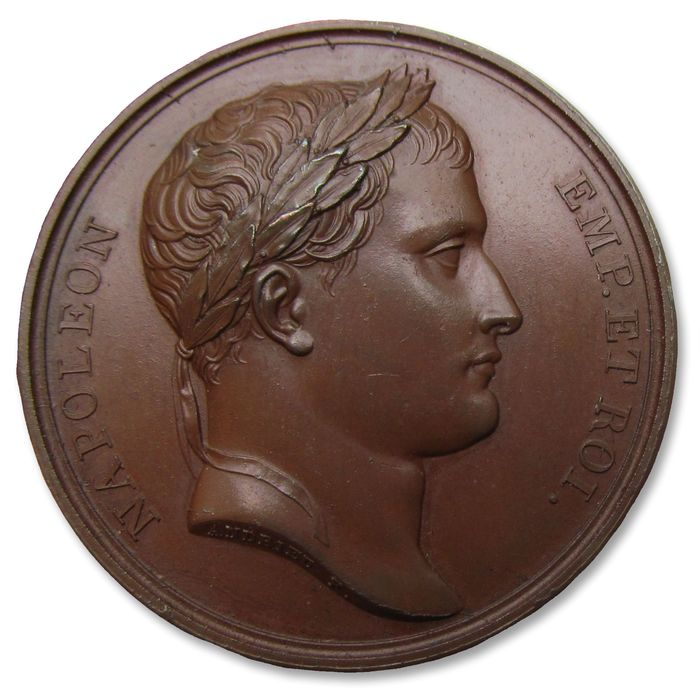 """Frankrijk. Bronze medal """"Napoleon I. Recruitment of 1.200.000 soldiers in France and Italy"""" 1813 (original medal)"""