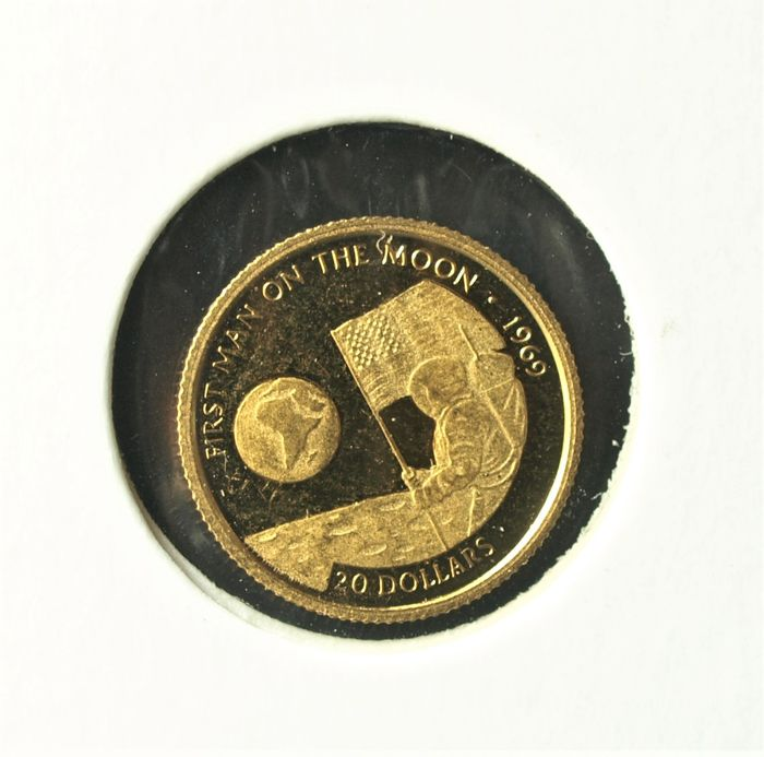Isole Cook. 20 Dollars 1995 First Man on the Moon, 1/25 Oz, 999/1000