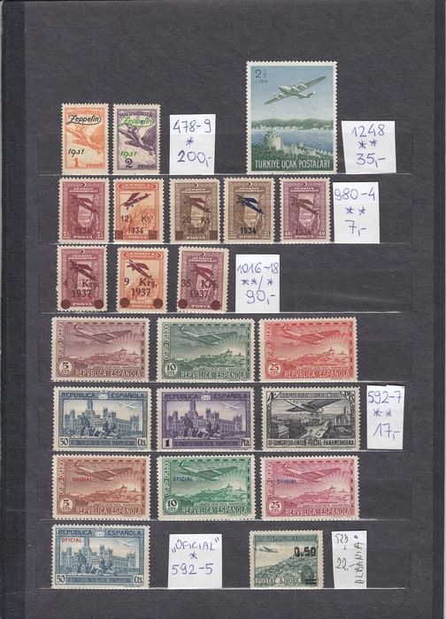 Welt 1931/1969 - Airmail stamps of Hungary, Turkey, Spain, Andorra, France, Luxembourg, Yugoslavia, GB - Michel