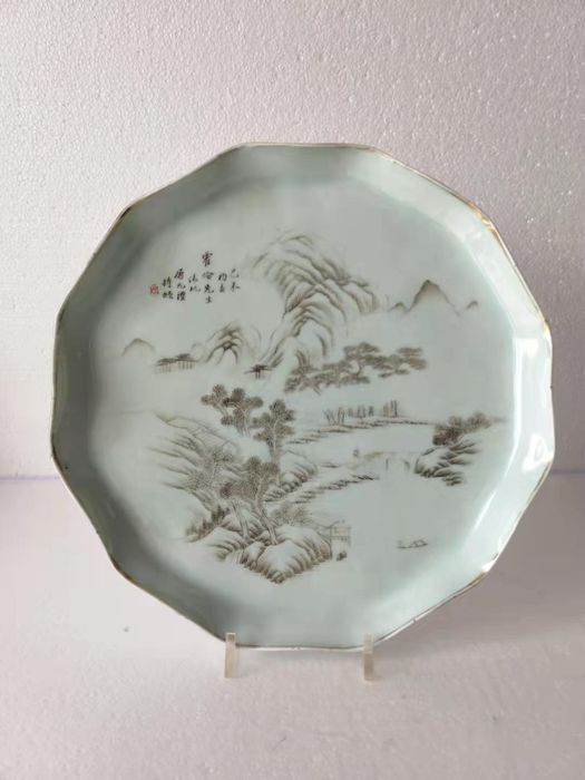 Tray - grisaille - Porcelain - scenery scene - China - Late 19th century