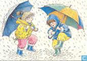 Voor het Kind-twee kinderen met paraplu