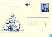 Gele briefkaart 50 jaar Suske en Wiske