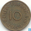 Monnaies - Sarre - Sarre 10 franken 1954