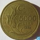 Turkije 5000 lira 1995 (groot jaartal)