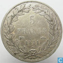 France 5 francs 1831 (Incuse text - Bareheaded - BB)