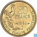 France 20 francs 1950 (B - G.GUIRAUD - 4 feathers)