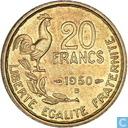 Frankrijk 20 francs 1950 (B - G.GUIRAUD - 4 veren)