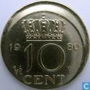 Nederland 10 cent 1980 (misstrike)