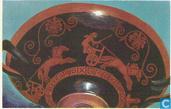 Wagenrennen volgens afbeelding op een Griekse vaas