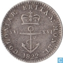 Brits West-Indië 1/16 dollar 1822