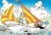 Suske en Wiske en Lambik op de zeilboot
