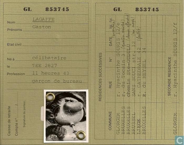 gaston lagaffe carte d u0026 39 identite de belge