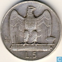 Italy 5 lire 1930 (edge inscription *FERT*)
