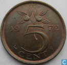 1972 5 cent on to large coinplate