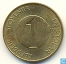 "Slovenia 1 tolar 1994 ""4 open on top"""