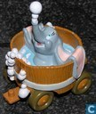 Dumbo in washtub on lorrie