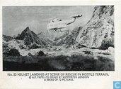 Heli-jet landing at scene of rescue in hostile terrain.