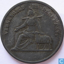 """Penningen / medailles - Broodpenningen - Broodpenning 1861 """"Hervormde Diakonie te Amsterdam"""" (zink, 2 broden)"""