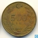 Turkey 500 lira 1989 (Aluminium-bronze)