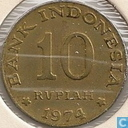 "Indonesia 10 rupiah 1974 ""F.A.O. - National Saving Program"""